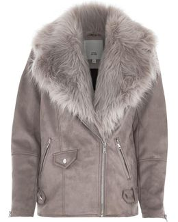 Grey Fur Trim Aviator Jacket