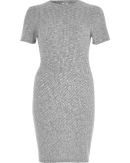 Grey Ribbed Jersey Bodycon Dress