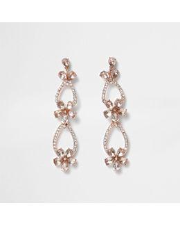 Rose Gold Tone Pave Flower Dangle Earrings