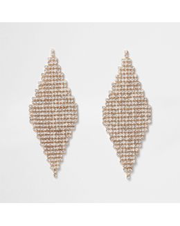 Gold Tone Diamond Pave Drop Earrings