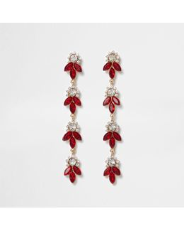 Red Diamante Leaf Drop Earrings