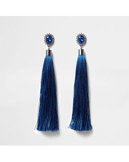 Blue Tassel Diamante Dangle Earrings