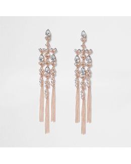 Rose Gold Tone Diamante Cross Dangle Earrings