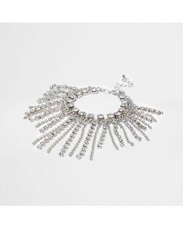 Silver Cup Chain Tassle Diamante Bracelet