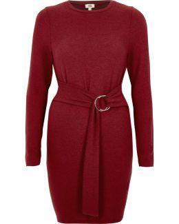 Berry Ring Tie Long Sleeve Jumper Dress