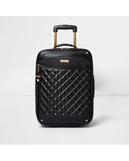 Black Quilted Studded Cabin Suitcase