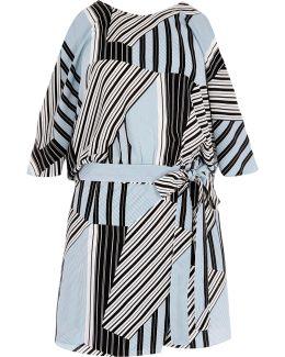 Blue Stripe Tie Waist Cold Shoulder Playsuit