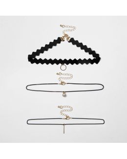 Black Diamante Circle Multi Row Choker Set