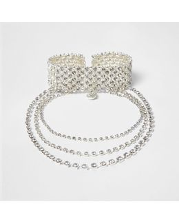 Silver Tone Diamante Statement Choker