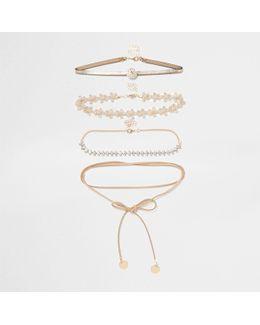 Brown Diamante Lace Bolo Choker Set