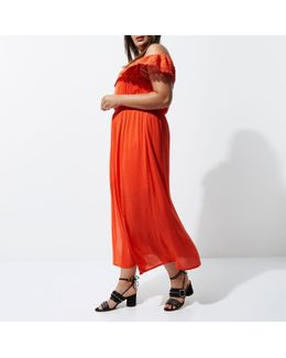 Plus Orange Bardot Maxi Frill Dress