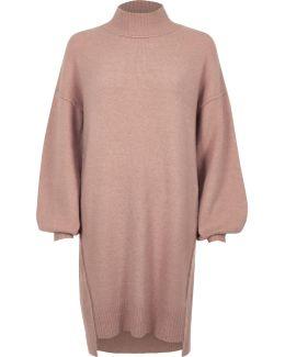 Light Pink Knit Balloon Sleeve Jumper Dress