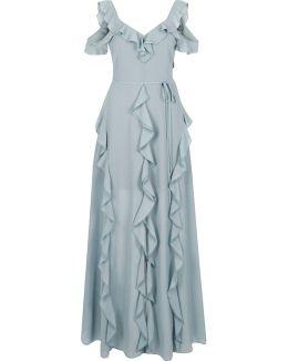 Dark Grey Frill Cold Shoulder Maxi Dress