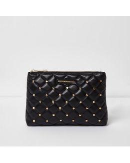 Black Quilted Studded Make Up Bag