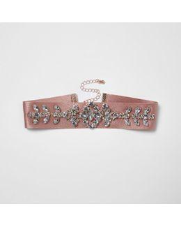 Pink Satin Embellished Choker