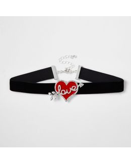 Black Velvet 'love' Heart Choker
