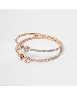 Rose Gold Tone Diamante Pave Cuff Bracelet