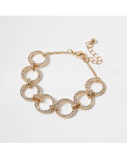 Gold Tone Diamante Circle Bracelet