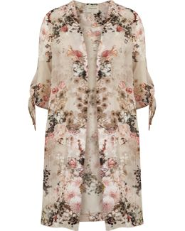 Light Pink Floral Tie Sleeve Kimono