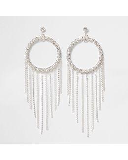 Silver Tone Circle Tassel Drop Earrings