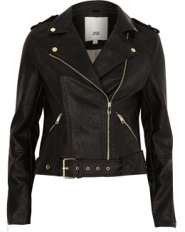 Black Faux Leather Belted Biker Jacket