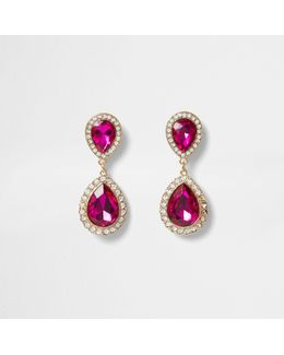 Gold Tone Teardrop Pink Drop Earrings