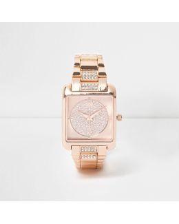 Rose Gold Tone Square Diamante Watch