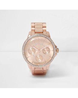 Rose Gold Tone Round Diamante Watch