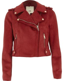 Petite Dark Red Faux Suede Biker Jacket