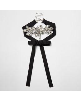 Black Floral Diamante Grosgrain Bolo Choker