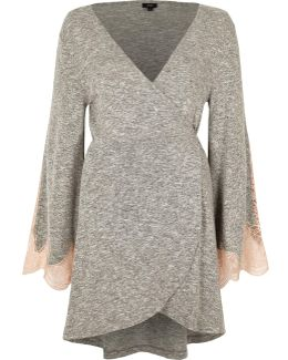 Grey Marl Jersey Lace Sleeve Wrap Robe