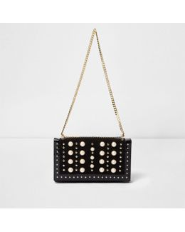 Black Pearl And Stud Chain Bag