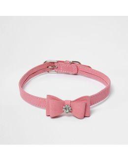 Ri Cat Pink Diamante Bow Collar