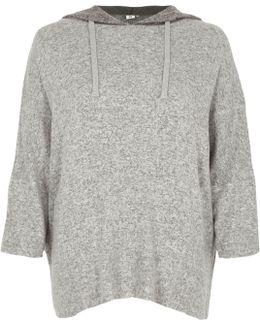 Light Grey Knit Hooded Pyjama Top