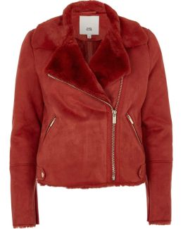 Red Faux Suede Shearling Biker Jacket