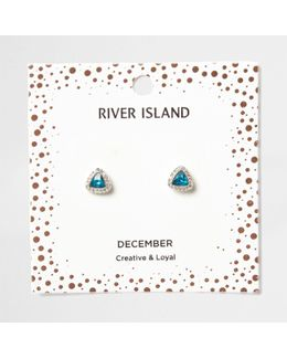 Blue Gem December Birthstone Stud Earrings