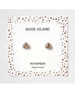 Orange Gem November Birthstone Stud Earrings