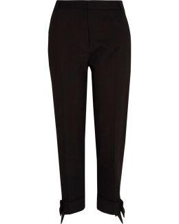 Black Bow Hem Cigarette Trousers