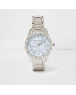 Silver Tone Marble Round Face Watch