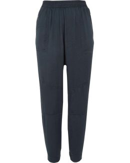 Navy Satin Tapered Trousers