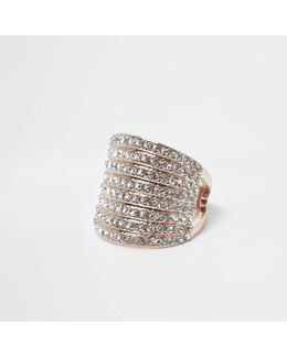 Rose Gold Tone Stacked Chunky Diamante Ring
