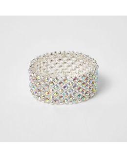 Silver Tone White Diamante Bracelet