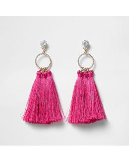 Pink Tassel Drop Hoop Diamante Earring