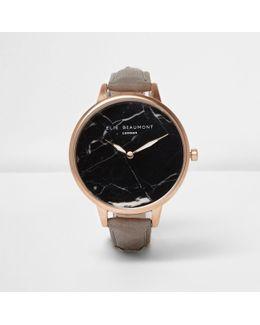 Grey Elie Beaumont Black Marble Face Watch