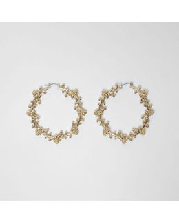 Gold Tone Ornate Embellished Hoop Earrings