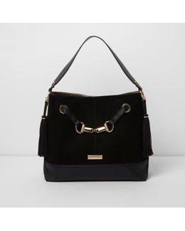 Black Snaffle Front Underarm Slouch Bag