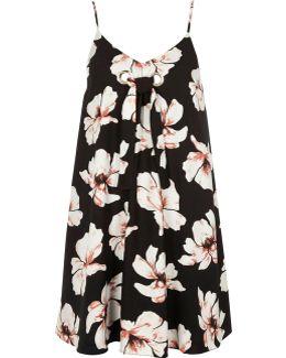 Black Floral Print Tie Front Slip Dress