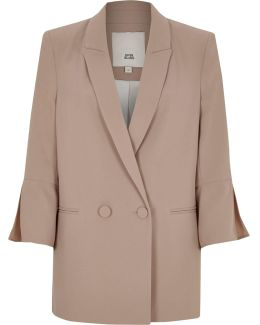 Dark Beige Split Sleeve Blazer