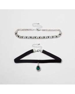 Green Emerald Tone Jewel Velvet Choker Set
