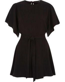 Black Short Flare Sleeve Tie Waist Playsuit